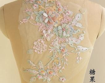 pastel lace applique, bridal lace applique, delicate lace bodice for bridal dress, 3D lace applique with pearls and rhinestones