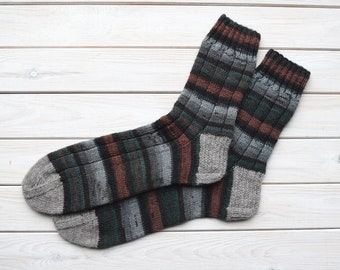 Mens wool socks Striped boot socks Hand knitted socks Rustic wool socks Mens warm socks