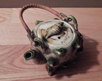 Vintage Sea Shell Tea Pot Florida Souvenir