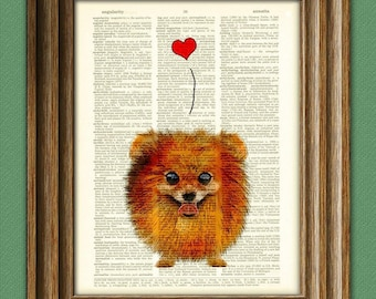 Lil Fluffy Pomeranian Pom with heart love dog illustration beautifully upcycled dictionary page book art print