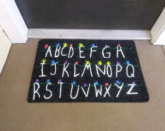 Upside Down Christmas Welcome Mat