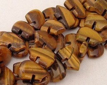 Six Tiger Eye Zuni Style Bear Fetish Beads Tigereye Brown Tan Chatoyant Shimmer Striped Gemstone Totem Animal Southwestern Desert Sand Earth