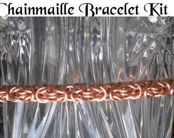 Byzantine Chain mail Bracelet KIT Non Tarnish Copper Jump Rings and Instructions