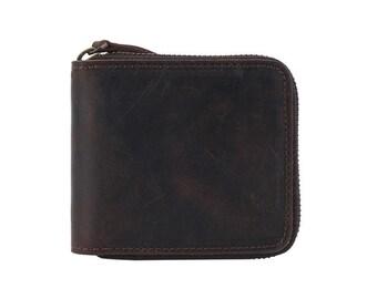 Crazy horse Leather wallet, vintage men's leather wallet, cowhide leather wallet, distressed leather wallet