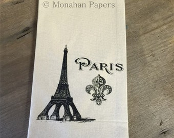 Eiffel Tower Fleur De Lis Tea Towel - Paris - Kitchen - Houseware - European - Gift