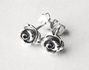 silver rose earrings, silver rose stud earrings, flower stud earrings, dainty earrings, oxidized earrings, silver rose studs, elegant studs