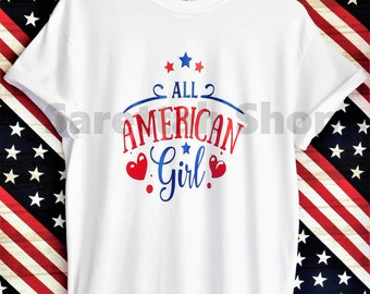 All American Girl Cotton T-shirt/Graphic Tees/Red, White, and Blue, Patriotic Shirt/Gift/4th of July/America/Merica/Birthday/Celebration