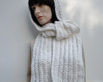 Snow White Hooded Scarf - White Hooded Scarf - White Pixie HOod- White Hat Scarf - Crocheted