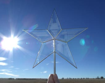 Beveled Glass Star Christmas Tree Topper, Classic Simple 5 Point Star, 10.5 Inch SILVER
