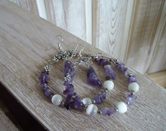 Gorgeous amethyst drop bangle earrings with white cat eye beads