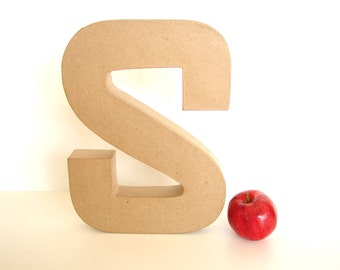 "Paper Mache Letter S (12"" tall) - Ready to Decorate Blank Letter, Home Decor, and more"