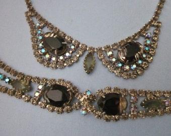 RESERVED Vintage Rhinestone Necklace and Bracelet Set