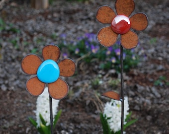 NEW Set of 2 - Garden Flowers - Jumbo w/glass - 10 to 18 inches tall