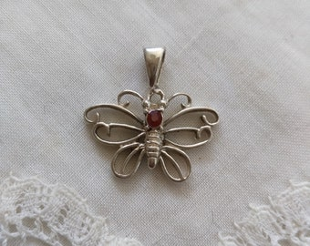 Vintage Ruby colored stone and 925 sterling silver Butterfly pendant