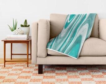 Turquoise Throw Blanket-Coral Fleece Blanket-Sherpa Fleece Blanket-Bed Blanket-Modern Decor-Throw Blanket-King Size Blanket-Teal Blanket