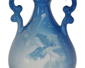 Roseville Pottery Azurean Poppy Handled Blue Vase 952 (Steele)