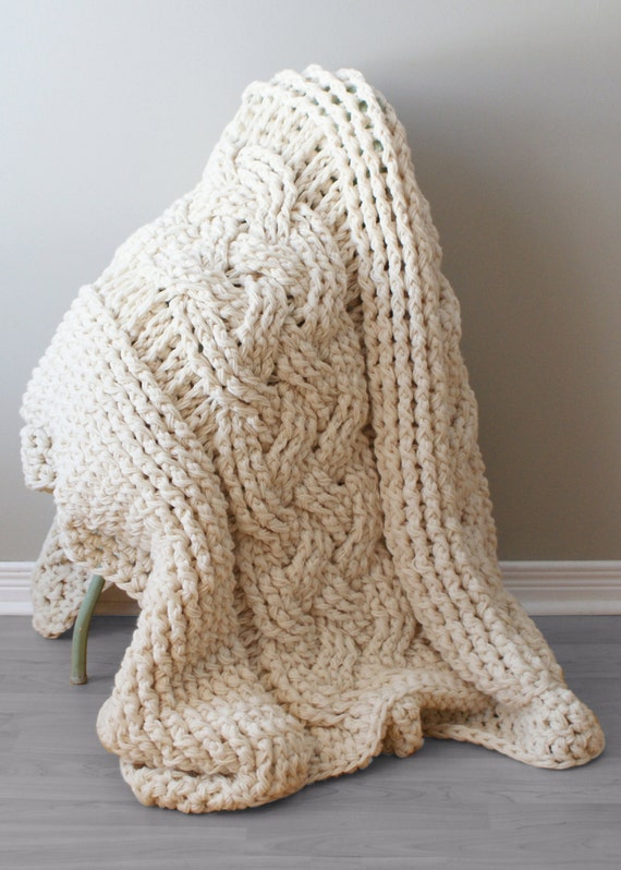 Diy Crochet Pattern Double Cable Crochet Throw Blanket