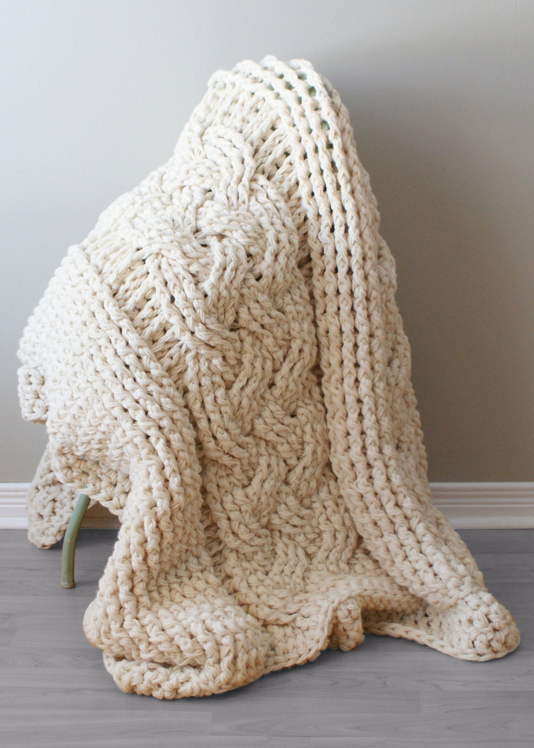 DIY Crochet PATTERN - Double Cable Crochet Throw Blanket (2014004 ...