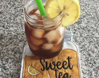 Mug Rug Embroidered Sweet Tea Wool felt backing Free Shipping