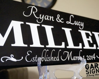 Personalized Family EST Name Sign Last Name Sign Family Established Sign: Hand Painted 8 x 22