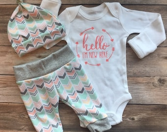 Peach and Mint READY TO SHIP Newborn Girl Outfit, Hello I'm New Here, Chevron, Stripe, coming home outfit, going home outfit, baby girl