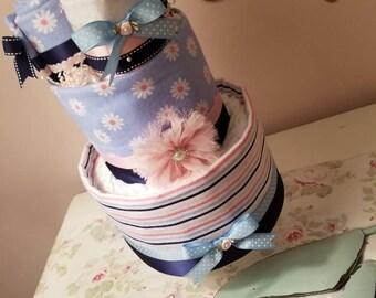 Girl Diaper Cake, Navy, Pink, White, Blue, 5 Receiving Blankets, Blanket Cupcakes, Shower Gift, Nursery Decor, Rhinestone Clip