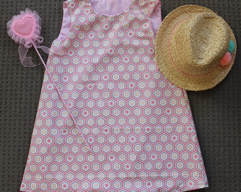 Pink Girls Dress, size 6, Geometric, Honeycomb Pattern