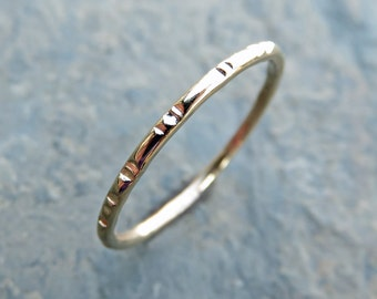Solid 14k Gold Notched Wedding Band - Thin Gold Stacking Ring in Yellow, Rose, or White Gold - Textured Wedding Band