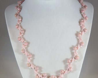 Pink gemstone bead crochet necklace