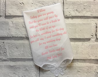 Bridesmaid handkerchief, personalised handkerchief, personalised wedding keepsake, bridesmaid gift. Flower girl present.