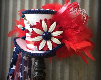 Mini Top Hat, Patriotic Hat, 4th of July, Red white and blue hat, Alice in Wonderland Mini Hat, Uncle Sam hat, Mad Hatter Hat, Medium Mini