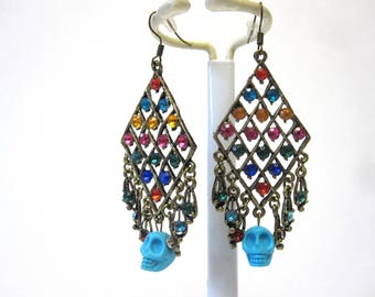 Day Of The Dead Earrings Blue Sugar Skull Jewelry Chandelier Dangles