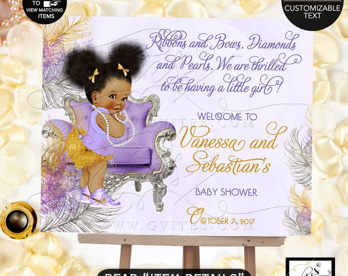 African American baby girl baby shower WELCOME SIGN, lavender purple gold silver, ethnic, bows diamonds pearls. Afro Puffs Gvites