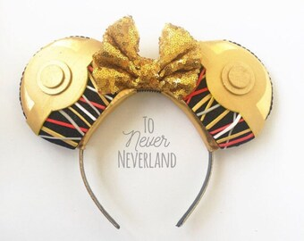 Star Wars C3PO Disney Inspired Ears, Star Wars Ears, Star Wars C3PO Mickey Ears, Star Wars Mouse Ears, Star Wars Ears, PRE-ORDER 2-3 WEEKS
