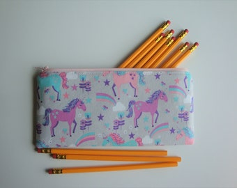 Pencil Pouch, Medium Zipper Pouch, Makeup Brush Pouch, Gift for Her, Unicorn Accessory, Accessory Pouch, Small Makeup Bag, Cord Keeper Bag