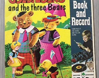 Vintage Goldilocks and the Three Bears Book and Record 45 RPM Peter Pan 1945