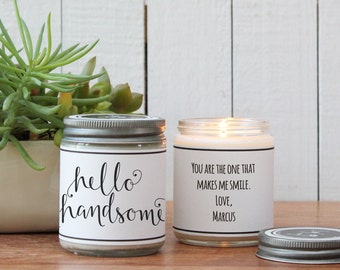 Hello Handsome Soy Candle Gift - Soy Candle Greeting | Boy Friend Gift | Gift for Him | Cheer Up Gift | Inspirational Gift | Scented Candle