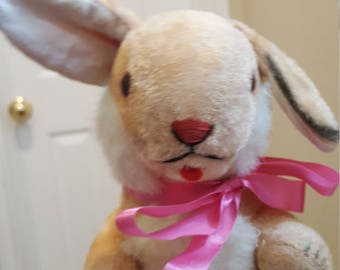 "Cute  1950s Vintage 10"" Stuffed Plush 1 Ear Lope Rabbit"
