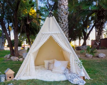 XL/XXL pocahontas lace teepee, 8ft kids Teepee, large tipi, Play tent, wigwam or playhouse with canvas and lace