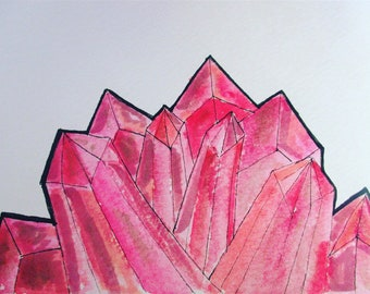 Red Crystal watercolor painting || galaxy, space, crystal, art, painting,