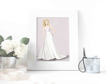 Personalized Bridal Gown Sketch, Custom Bride Gift, Custom Fashion Illustration, Custom Bridal Gown, Wedding Dress Art, Bridal Portrait, Art