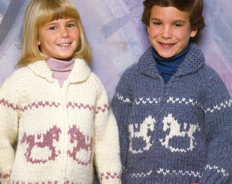 Cowichan Style Child's Rocking Horse Zip Up or Pullover Sweater #B 6602 PDF Pattern