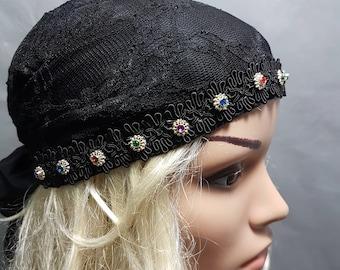 Black Tichel , Black Lace Head Scarf ,  Black Headwear , Women's Bandana , Snood , Chemo Hat , Black Head Wrap , Black Hair Covering