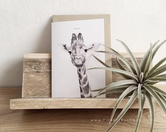 Birthday Greeting Card, Giraffe drawing, Caption Card- Hello!