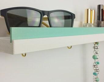 Shelf, white & Mint green, 30cm
