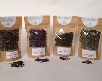 Emerald Isle Seaweed Organic Flakes Granules Herbs, Dulse, Sweat kelp, Kombu, Sea Spaghetti, Wakame, Bladder wrack, Flavour Enhancer