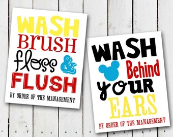 Mickey Mouse Bathroom Rules Subway Art - Instant Download