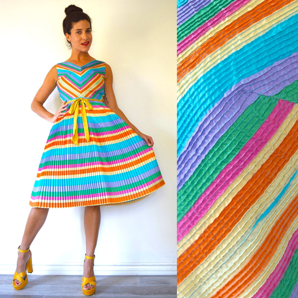 Vintage 60s Multicolored Chevron Striped Accordion Pleated Fit and ...