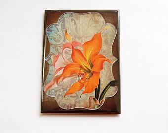 Flower magnet, Floral Magnet, Fridge magnet, Large Magnet, Kitchen magnet, ACEO, stocking stuffer, tiger lily, orange, brown, magnet (4448)
