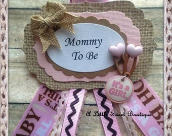 Pink Shabby Burlap Mommy To Be Corsage Badge Baby Shower Guest Corsage Pink Burlap Theme Baby Shower Any Name Corsage Badge